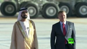 لحظة سقوط محمد بن راشد آل مكتوم أثناء الوصول إلى الأردن