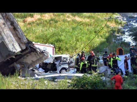 حصيلة ضحايا انهيار الجسر في جنوة الإيطالية ترتفع!!